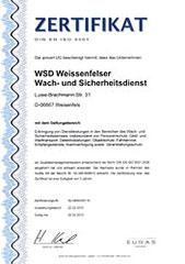 TÜV Zertifikat Weißenfelser Wachdienst